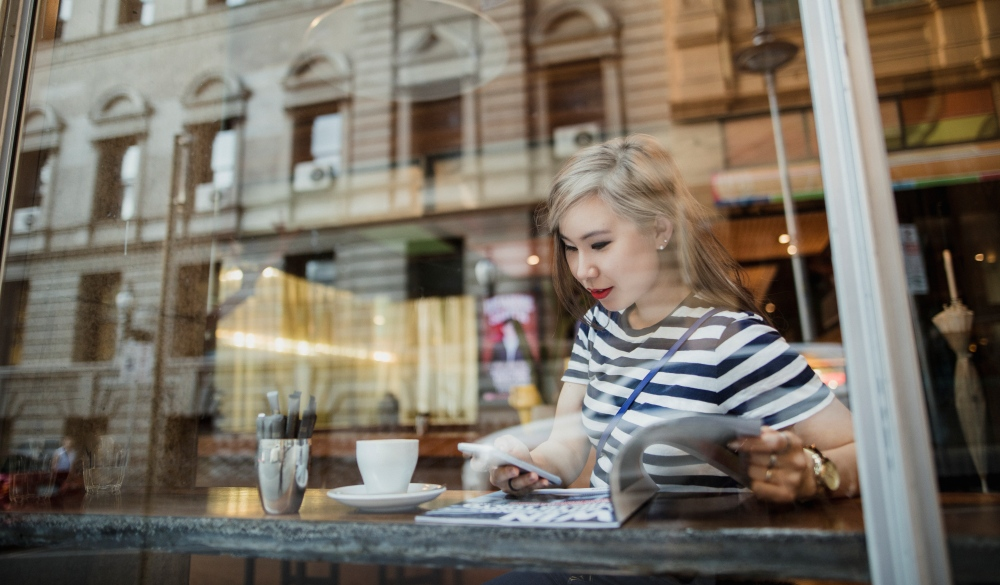 Woman at a Coffee Shop