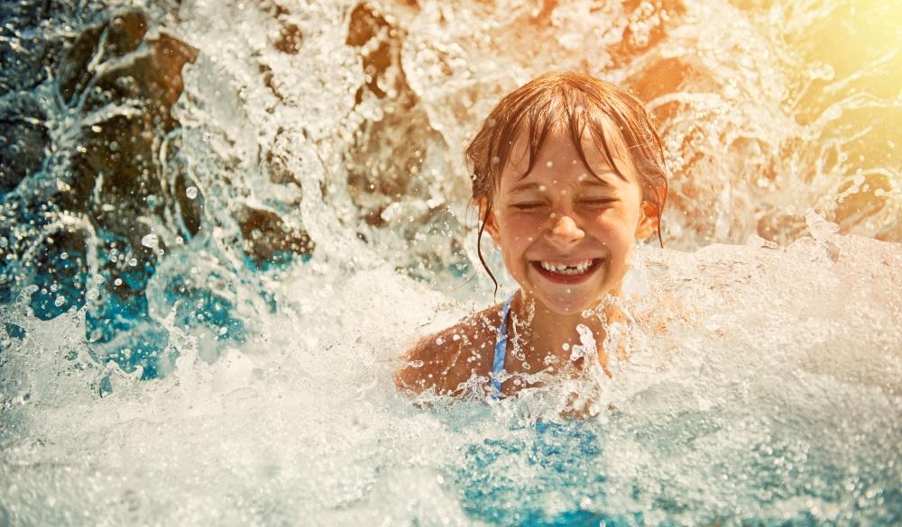 Little girl in waterpark, family hotels in Dubai