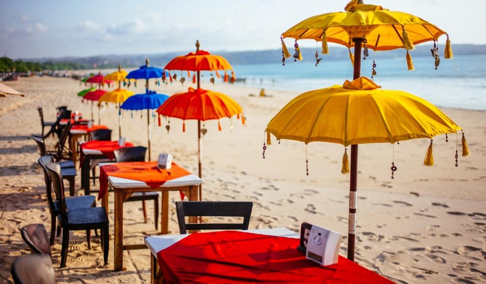 Beach umbrellas in Bali beach