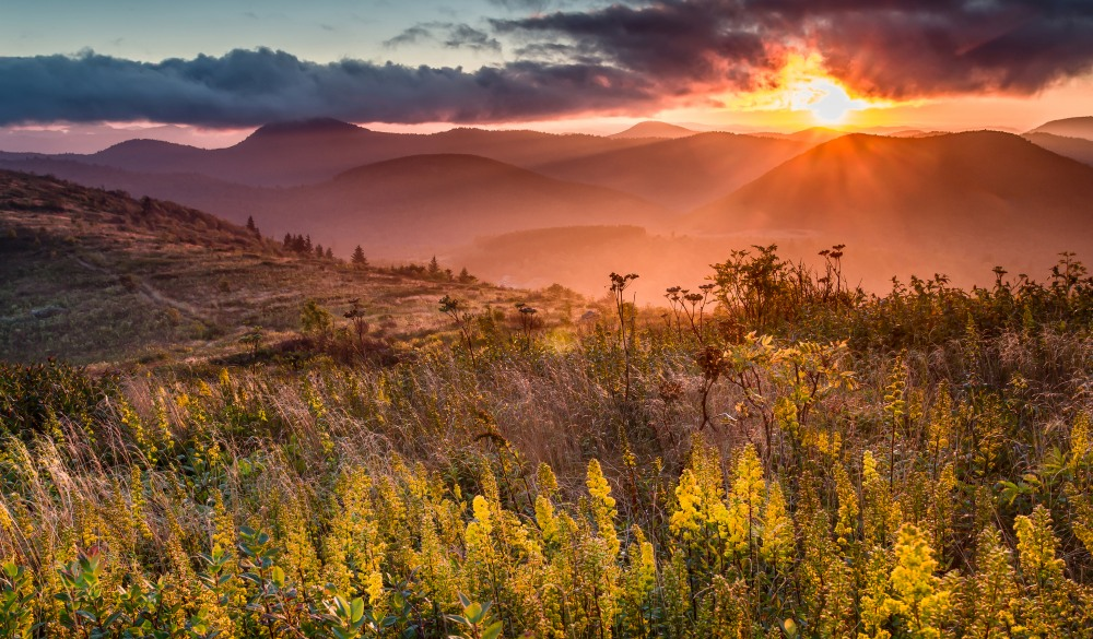 Sunset over Sam Knob in the Shining Rock Wilderness.