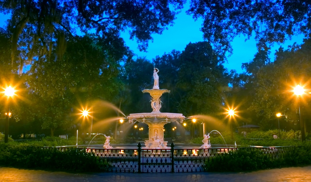 Forsyth Park Fountain at a mid-summer night., affordable romantic getaways