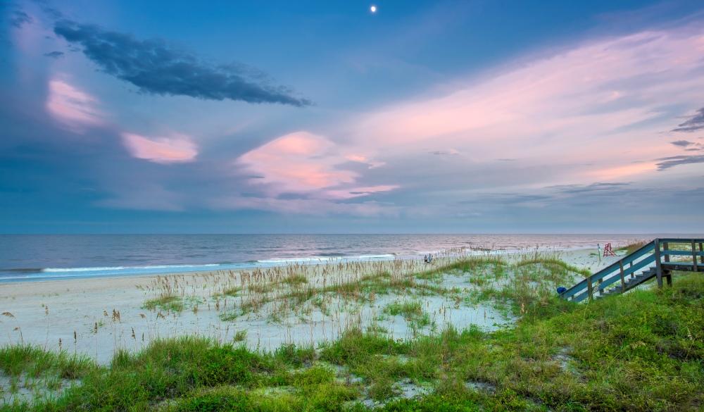 Twilight on the beach at Amelia Island, Florida, affordable romantic getaways