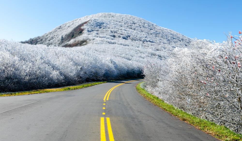 frozen mountains along the Blue Ridge Parkway at Graybeard Mountain, affordable romantic getaways