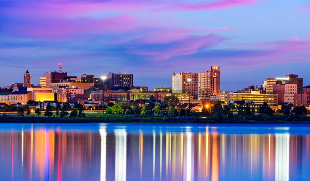 Portland, Main Cityscape downtown, affordable romantic getaways