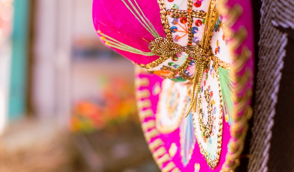 Pink sombrero in the flea markets of Mexico., cinco de Mayo celebration