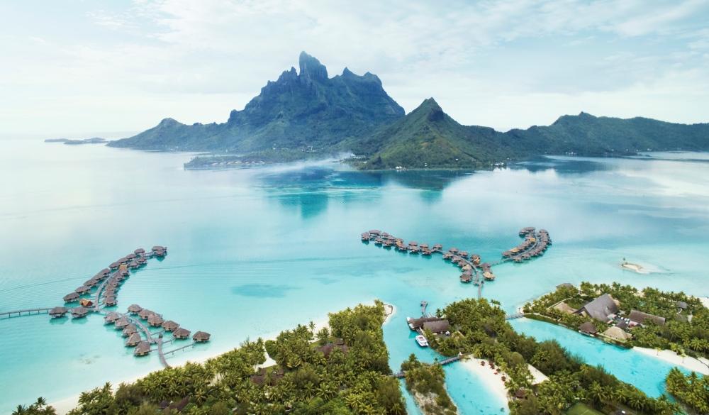 Bora Bora volcano and lagoon, tropical island vacation