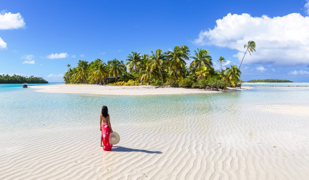woman on One Foot Island, Aitutaki, tropical island vacations