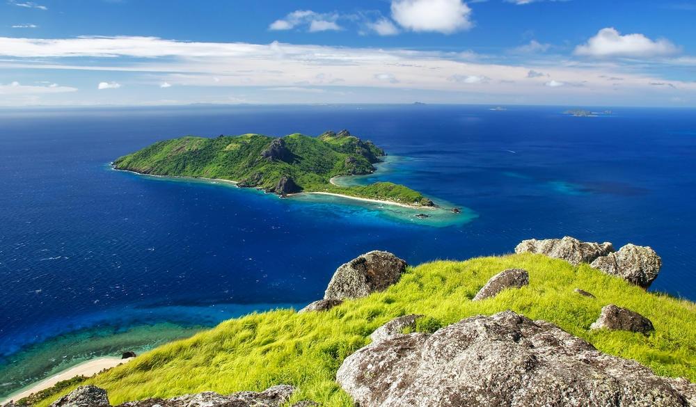 Kuata Island from Vatuvula Volcano on Wayaseva Island, tropical island vacations