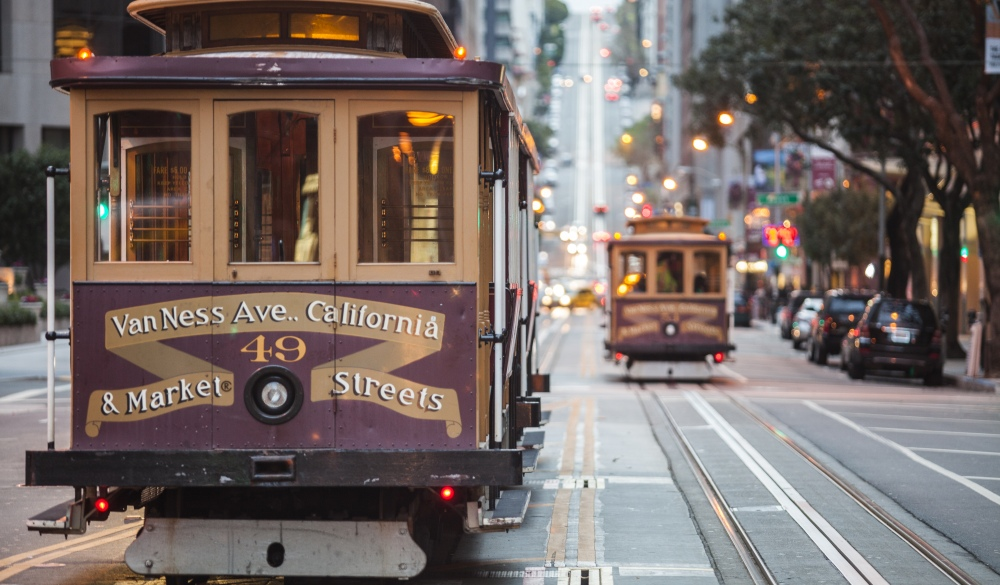 Cable cars on city street, San Francisco