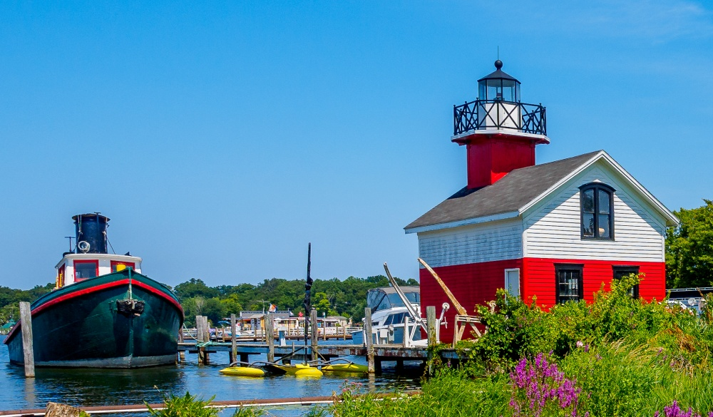 Douglas Lighthouse on the Kalamazoo River, small-town LGBT U.S. destinations