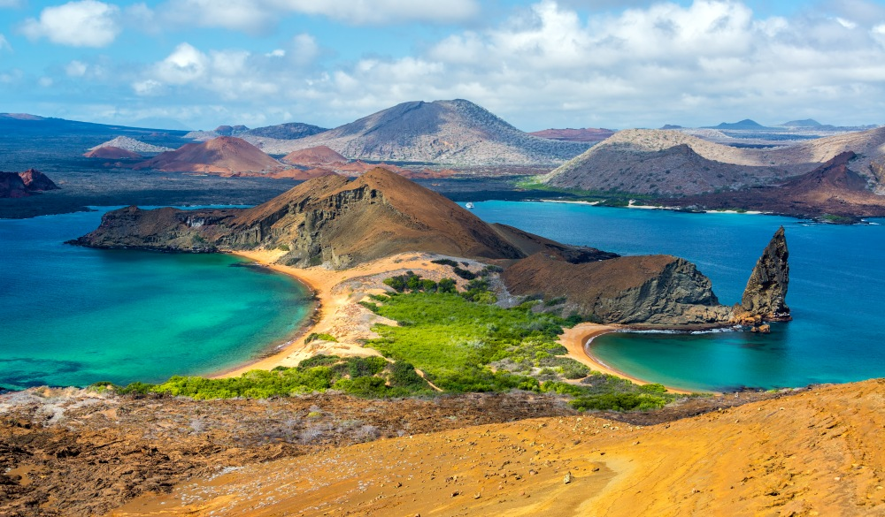 two beaches on Bartolome Island in the Galapagos Islands, snorkelling spot