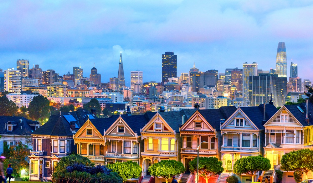 Famous painted ladies houses in San Francisco after sunset