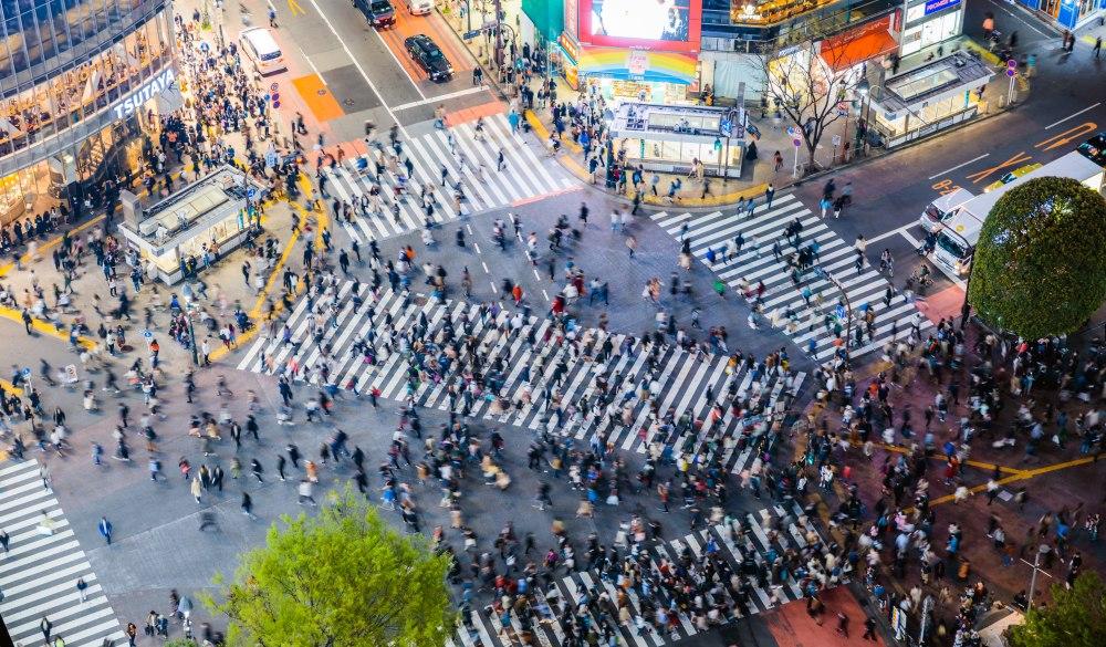 famous Shibuya pedestrian crossing,
