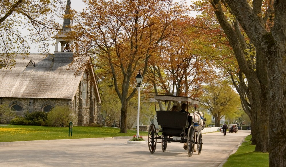 horsedrawn carriage on Mackinac Island,, underrated U.S. destination