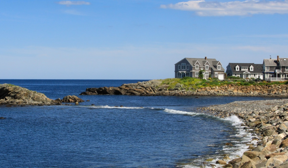 Harbor View with Rocks and Waterfront Houses, Perkins Cove, small-town LGBT U.S> destinations