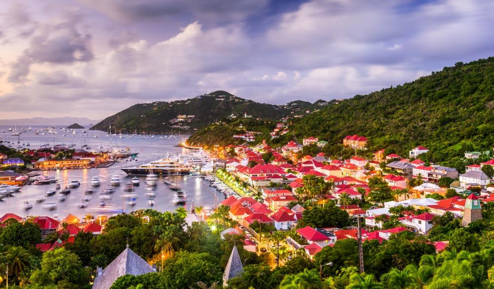 Saint Barthelemy skyline and harbor, tropical island vacations