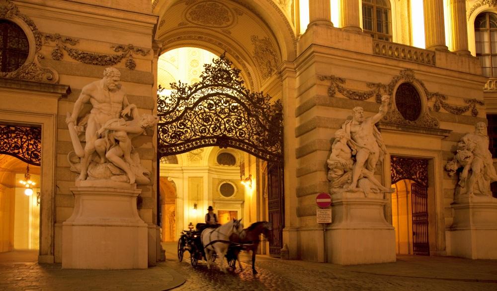 Evening at the Hofburg Palace entrance