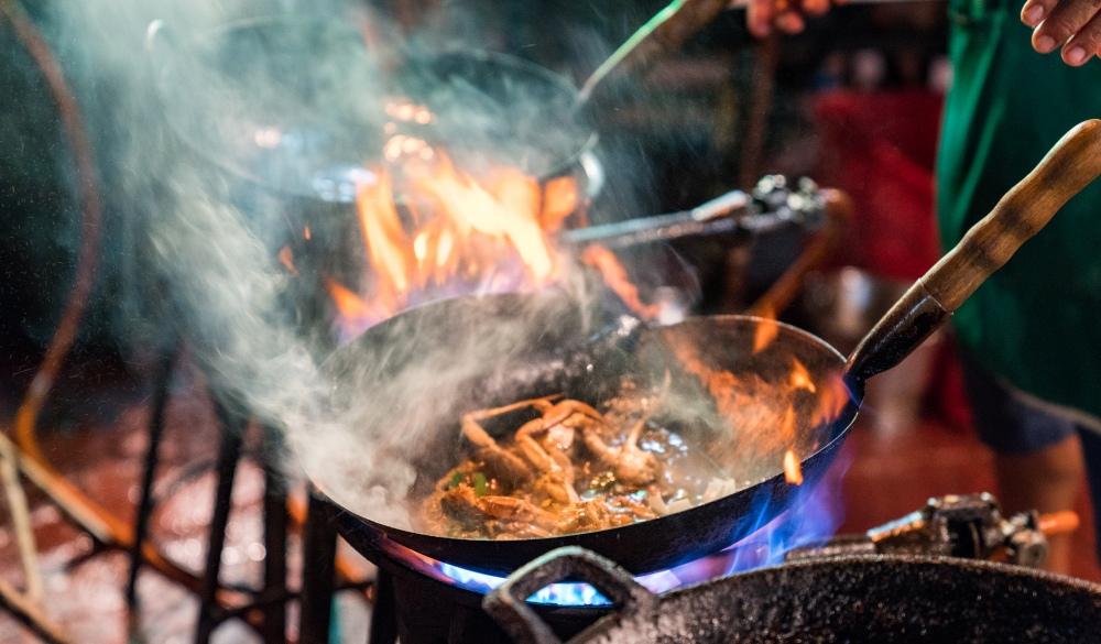 Street food cooking in Chinatown Bangkok