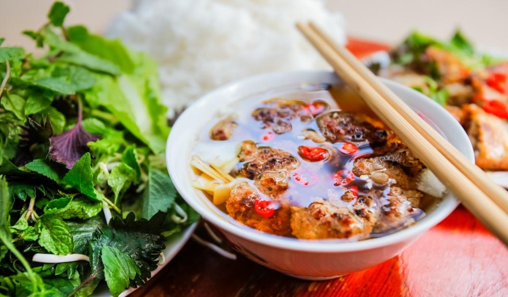 Vietnamese grilled pork noodle soup