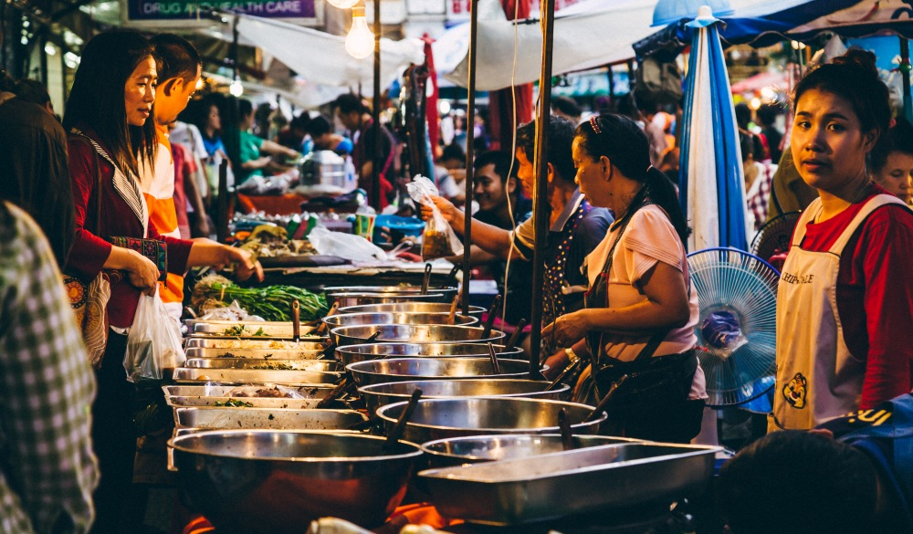 Thai night market busy with people