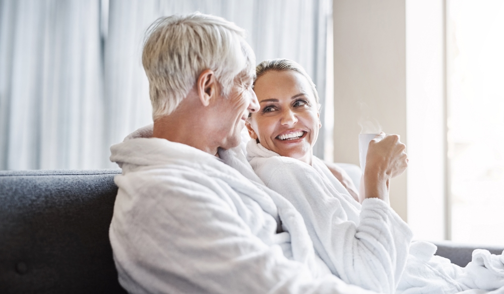 Couple relaxing inside a spa