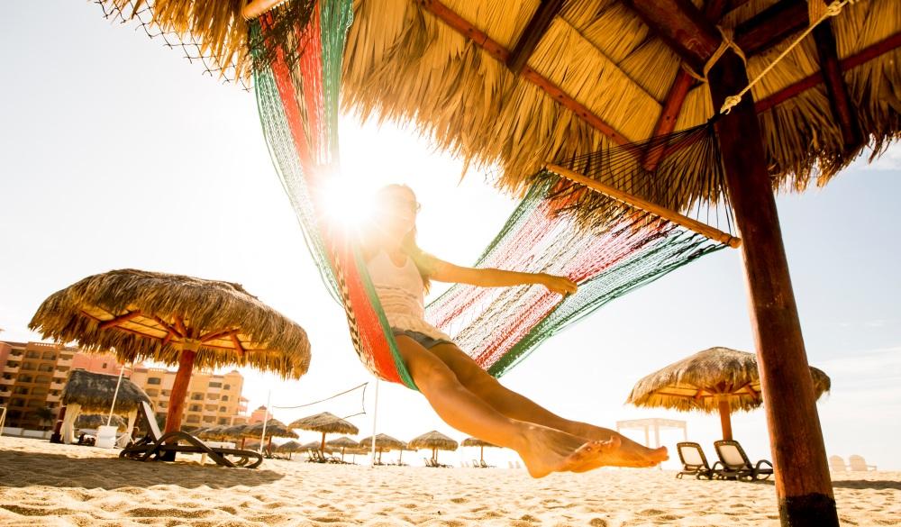 swinging in a hammock