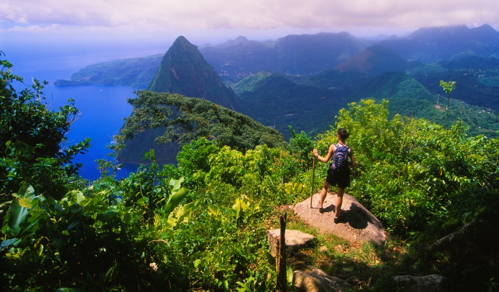 hiker admires the view of Petit Piton from the top of Gros Piton.