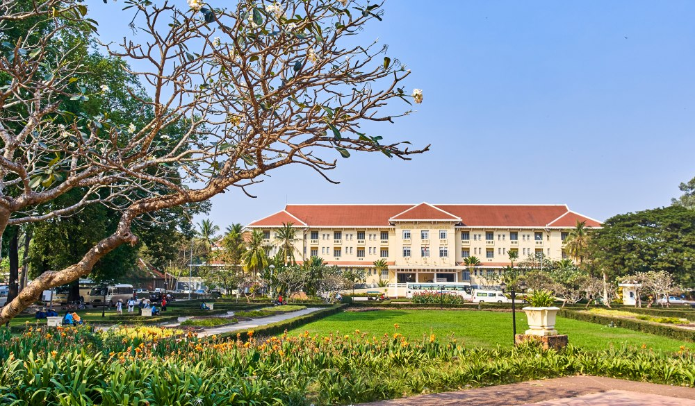Raffles Grand Hotel D'Angkor view from Royal Independence Gardens, historic hotel in Cambodia