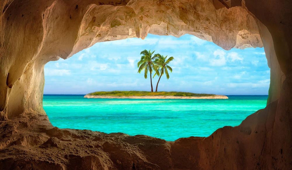 old Indian cave in Caribbean, yoga retreat location