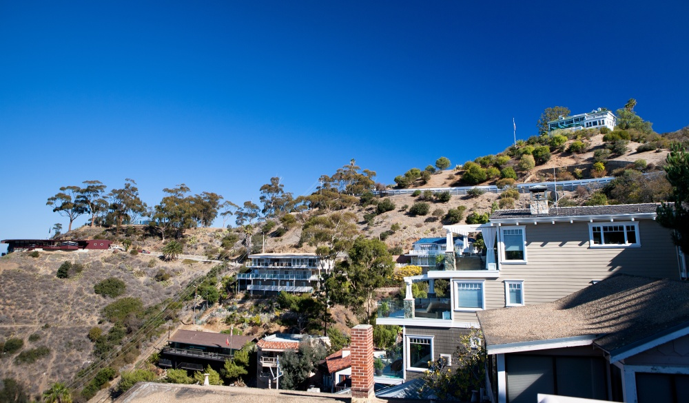 The Wrigley Mansion sits atop the hillside