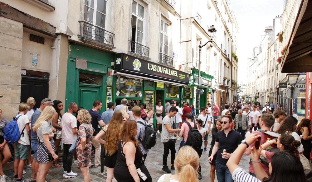 rue de Rosiers street in Le Marais district of Paris