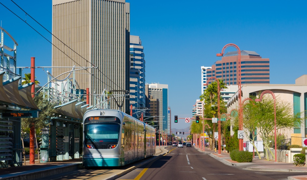 Midtown Phoenix business district and light rail train