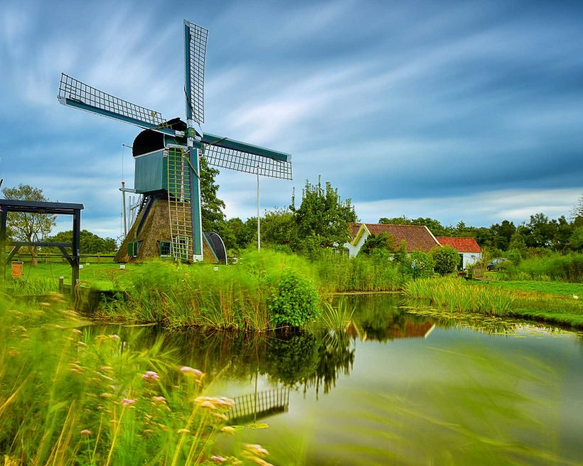 Old windmill in the village of Tienhoven, Netherlands.