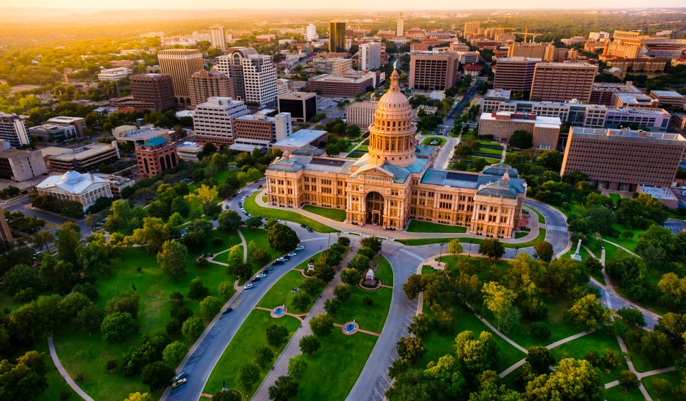 Capitol building, aerial skyline, sunset, Austin, TX, Texas State Capital