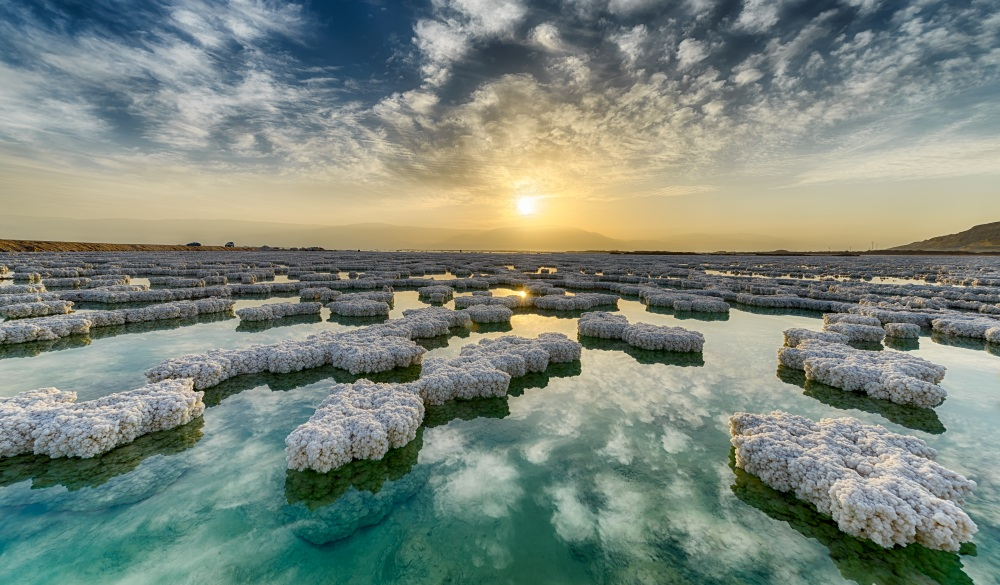 Salt crystals on surface of Dead Sea, Israel, ultimate travel bucket list