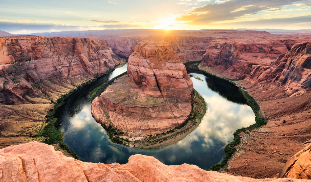 Horseshoe Bend At Sunset - Colorado River, Arizona, UNESCO site in the US