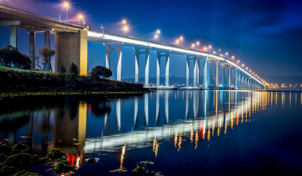 Hobart Tasman Bridge at Night Tasmania Australia, tasmania road trip destination