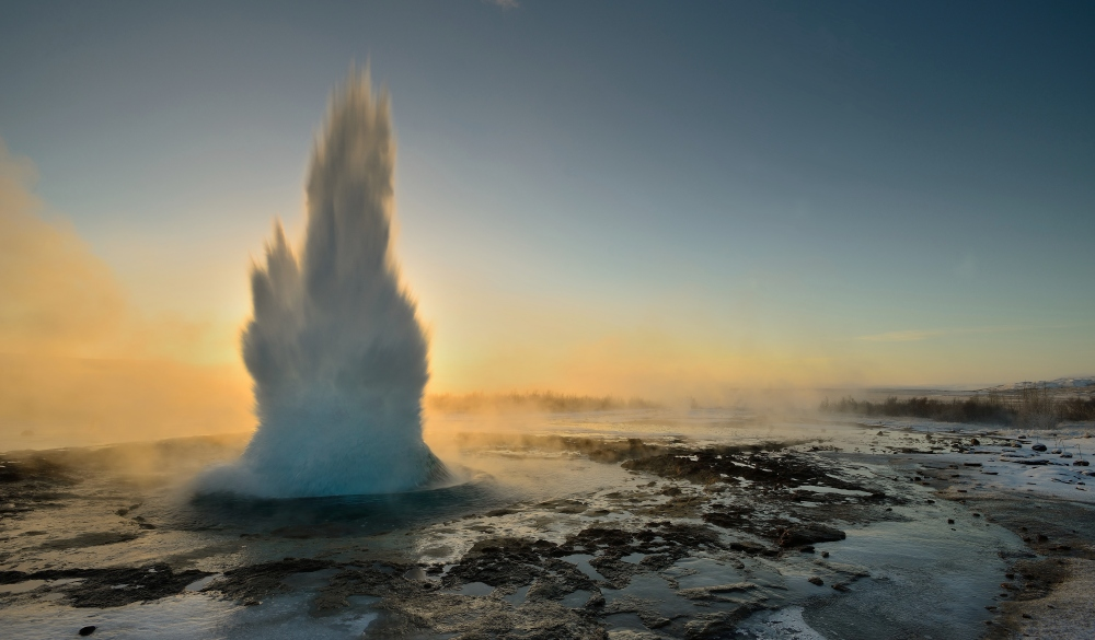 The Geyser Strokkur Iceland in the early morning light.