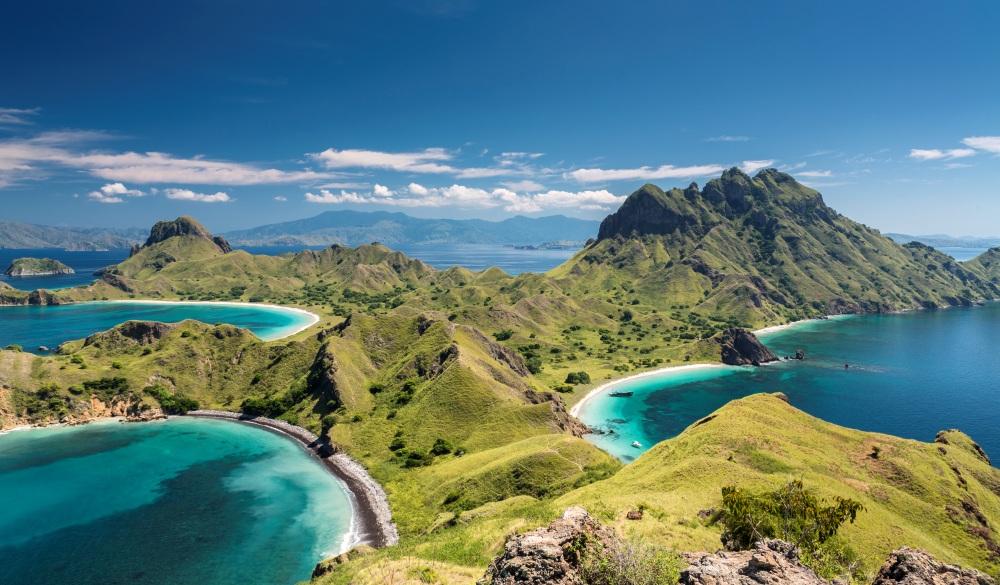Mountain range in Komodo National Park in Indonesia, endangered travel destination