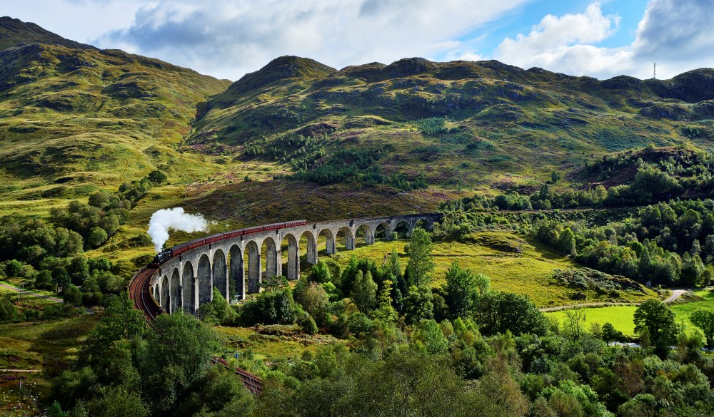 Glenfinnan viaduct with a steam train, ultimate bucket list