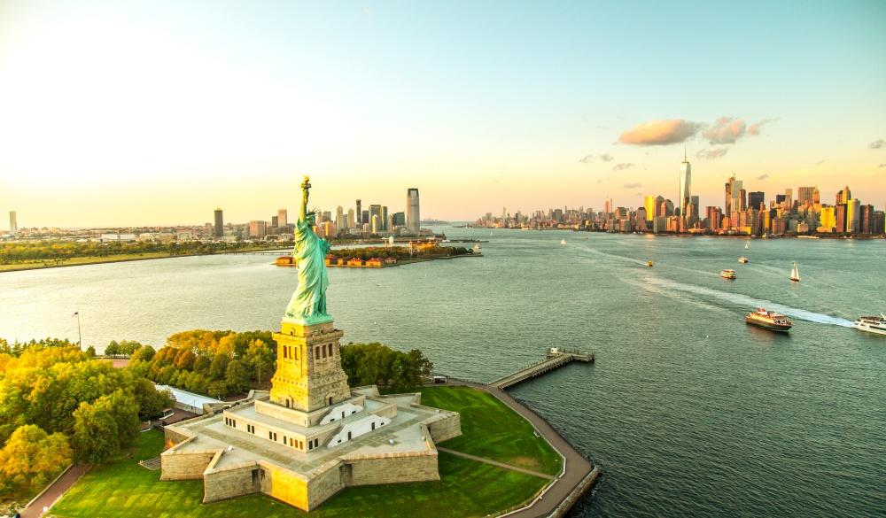 Liberty Island overlooking Manhattan Skyline, UNESCo in the US