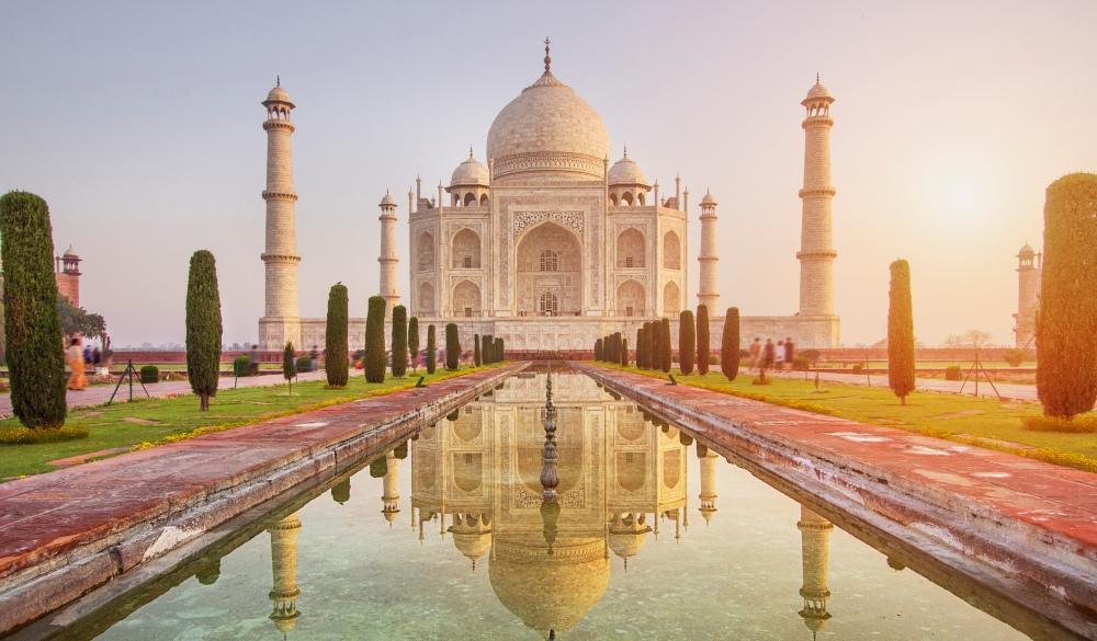 Sunrise over Taj Mahal, endangered travel destination