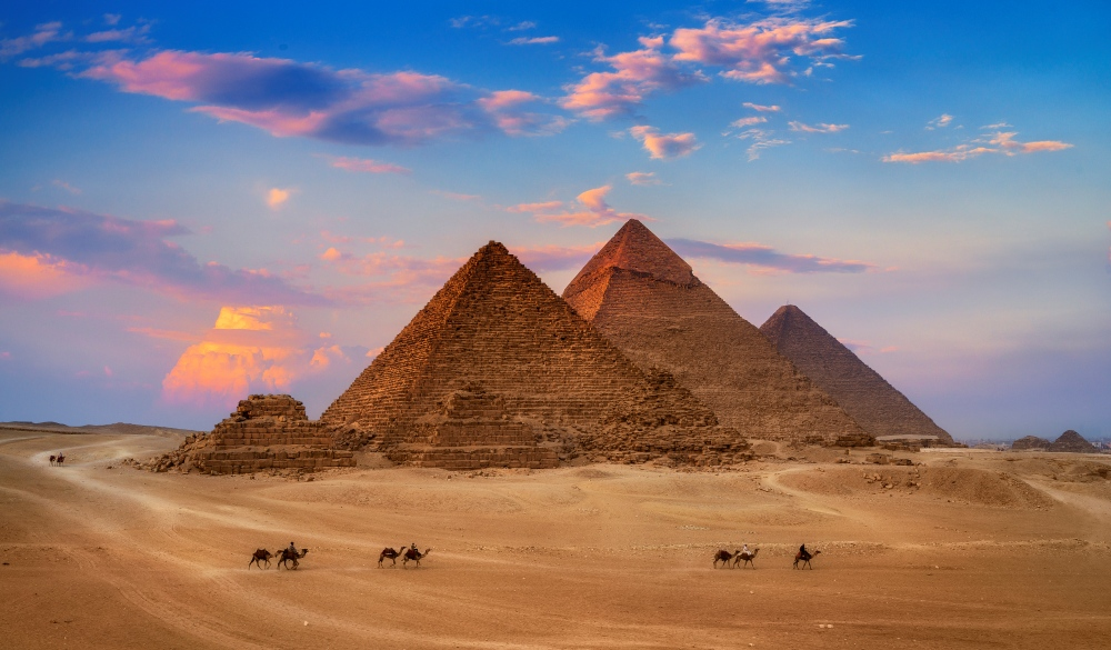 Giza Egypt Pyramids in Sunset Scene, Wonders of the World, endangered travel destination