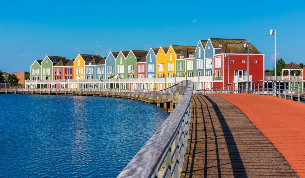 Modern Multi Colored houses in Houten Netherlands, hidden gems in europe