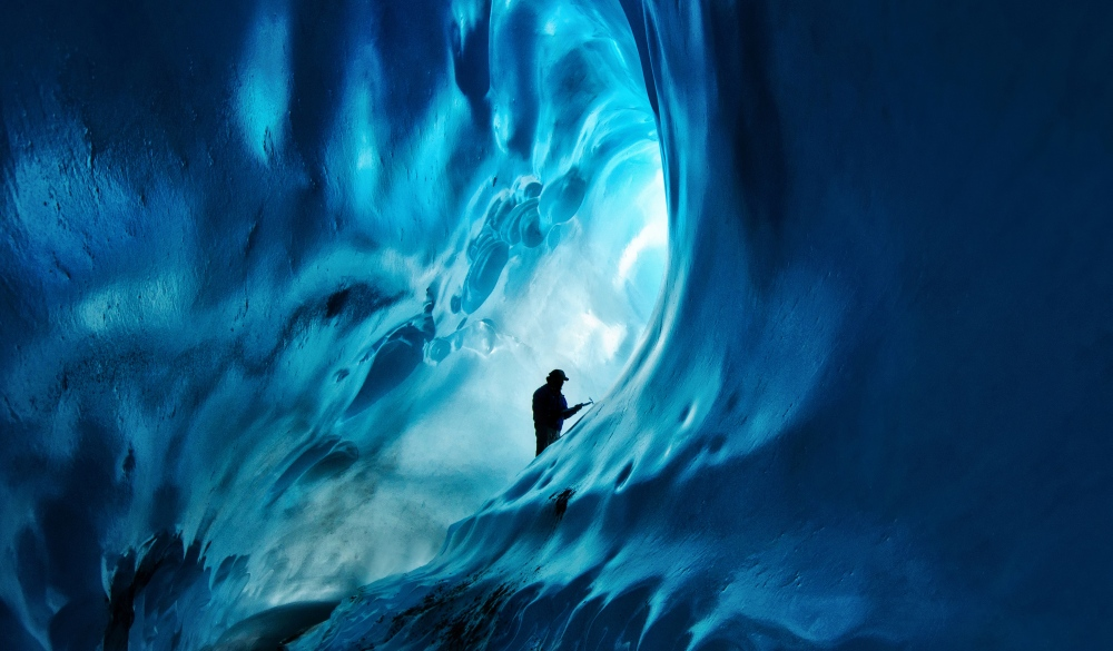 Ice cave hike, Root Glacier, Wrangell-St. Elias National Park, , UNESCO site in the US