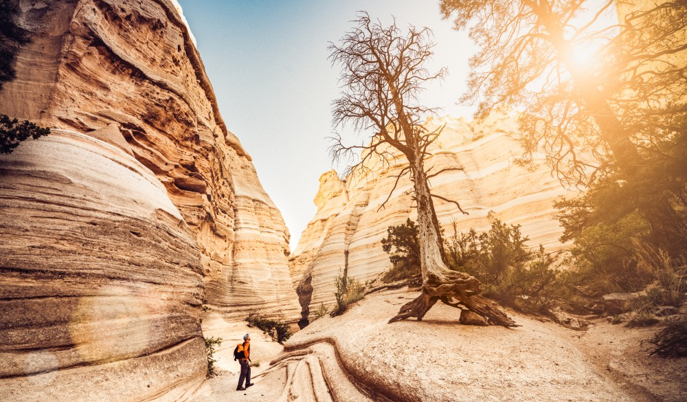 hiking at Kasha-Katuwe Tent Rocks National Monument in New Mexico. USA.