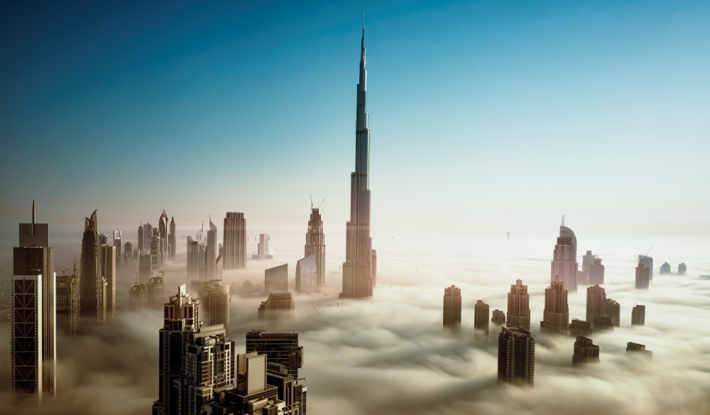 Dubai Skyline in early morning fog, bucket list