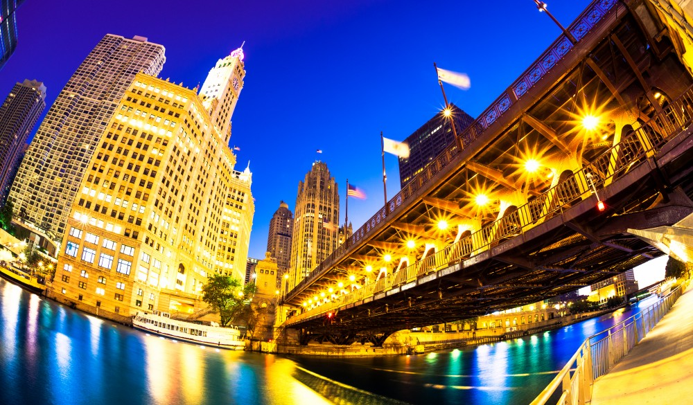 Chicago river skyline and Michigan avenue