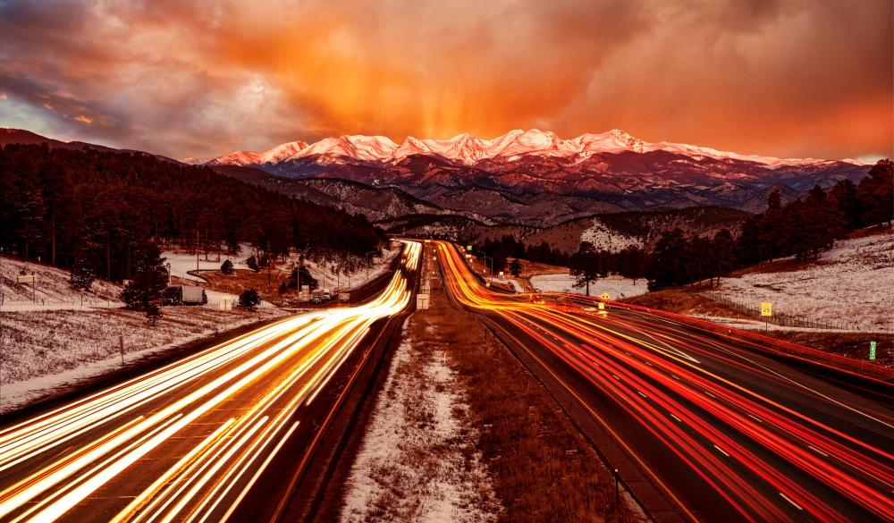 Front Range Sunrise from I-70 traveling