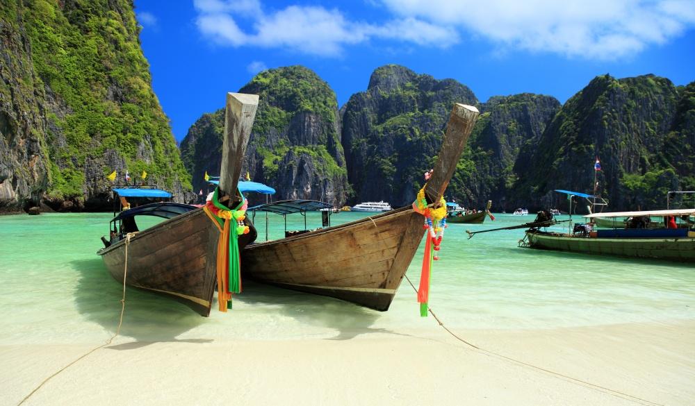 Long tail wooden boats at Maya Bay-Phi Phi Islands-Thailand